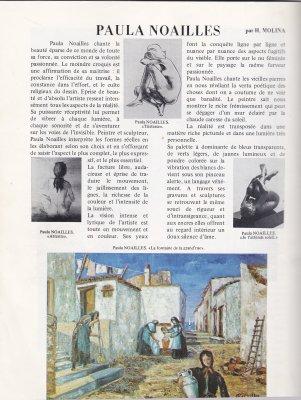 Paula Noailles artiste peintre et sculpteur crique revue Vision sur les Arts juin juillet 1982 A