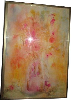 Paula Noailles aquarelle bouquet de fleurs