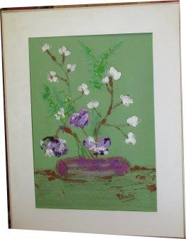 Paula Noailles aquarelle bouquet de fleurs style extrême oriental