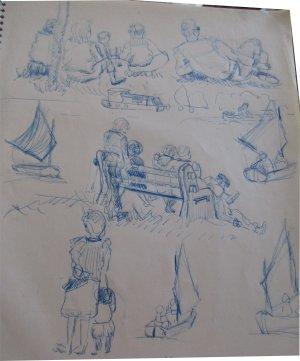 Paula Noailles dessin groupe de vacanciers