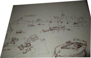 Paula Noailles dessin à la plume le port