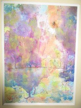 Paula Noailles aquarelle art abstrait fleurs avec coulures