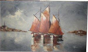 Paula Noailles huile sur toile marine trois bateaux