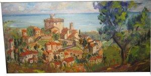 Paula Noailles huile sur toile village provençal