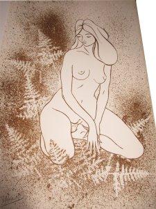 Paula Noailles lithographie femme aux fougères