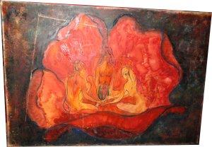 Paula Noailles thème mystique trois femmes autour du feu