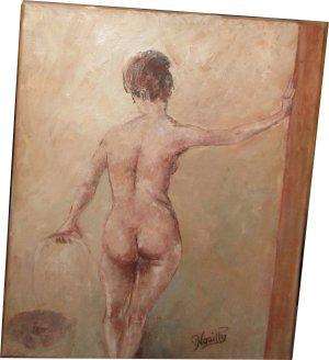 Paula Noailles Huile sur toile femme nue de dos